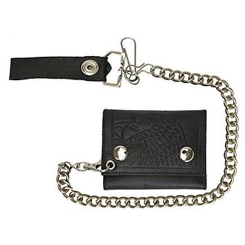 Men's Genuine Leather Black Trifold Wallet with Chain Biker Trucker Motorcycle