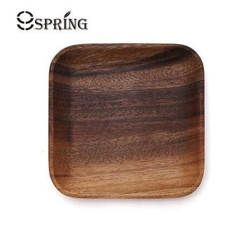 1 Piece Square Plate Small Vintage Wooden Tray Sushi Plate Wood Serving Dishes for Cake Dessert Fruit Tray Wood Kitchen Utensils