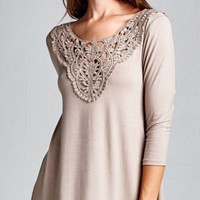 Dressy Tunic Top - Taupe