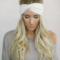 Solid Jersey Twist Headband, Knotted Head Wrap, Twisted Center Hair Wrap, Cute Hair Accessories, Matte Jersey Turband in Champagne (HB-3843)