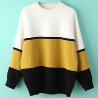 Color Block Round Neck Ribbed Knitted Sweater