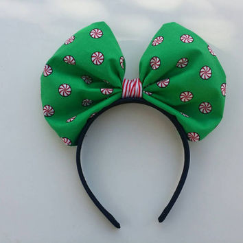 Minnie Mouse Bow Headband in Peppermint print