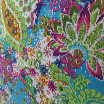 Blue Color Multi Print Paisley Cotton Bedspread, Decorative Queen Size Kantha Quilt, Reversible Indian Bed Cover, Designer Kantha Blanket