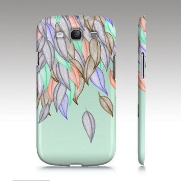 Galaxy S3 case, hipster, art, mint, colorful nature illustration, leaves, crayon art for your phone