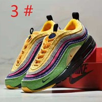 NIKE Air Max Sean Wotherspoon 97 Fashion new embroidery hook colorful contrast color leisure sports women men shoes