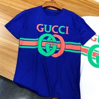 GUCCI Fashionable Women Men Casual Print Short Sleeve T-Shirt Top Blue