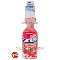Sangaria Ramune Carbonated Soft Drink Strawberry Flavor 200ml Glass Bottle