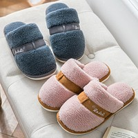 Winter Soft Cotton Slippers Non-Slip Indoor Plush Warm Home Simple Slippers Without