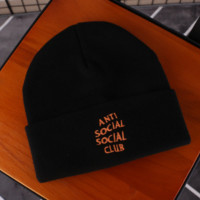 Anti Social Social Club New fashion embroidery letter couple knit keep warm hat