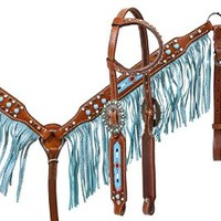 Showman Horse Bridle, Breast Collar,and Split Reins Set with Beaded Inlay and Turquoise Sting Ray Print Fringe