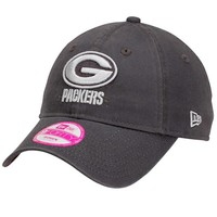 New Era Green Bay Packers Ladies Essential 9FORTY Adjustable Hat - Charcoal