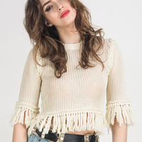 White Hollow Out Knit Fringed Trims Crop Sweater