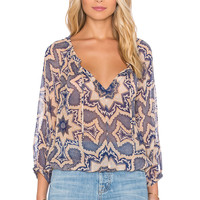 Gypsy 05 Printed Peasant Blouse in Blue