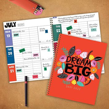 July 2021-June 2022 Dream Big Large Daily Weekly Monthly Planner + Coordinating Planning Stickers
