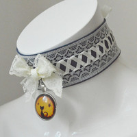 Kitten play collar - Night cat - glowing in the dark - ddlg princess pastel neko girl collar with lace  - blue and ivory yellow