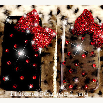 iPhone 4 Case, iPhone 4s Case, iPhone 5 Case, Cute iPhone 4 Case, Bling iPhone 4 case, iphone 5 bling case, red bling bow iphone 4 case