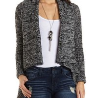 Marled Cascade Cardigan Sweater by Charlotte Russe - Black Combo