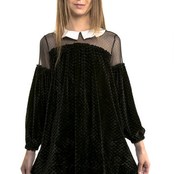 Wednesday Black Velvet Peter Pan Collar Dress - LAST ONE