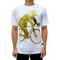 tree SLOTH on a Bicycle fit for men t shirt women t shirt men and women t shirt cotton t shirt