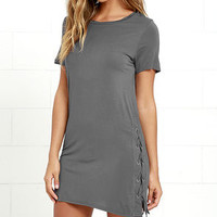 Chic Your Fortune Grey Lace-Up Shift Dress