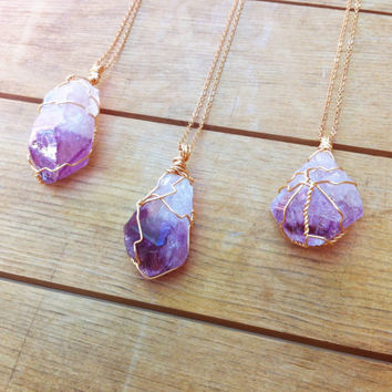 Spring Amethyst Point Pendant / Bohemian Raw Mineral Necklace / Wire Wrapped Purple Stone
