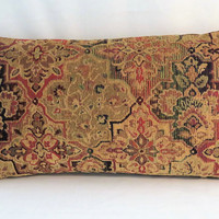 "Jewel Tone Tapestry Pillow, 12 x 22"" Lumbar, Gold Red Green Blue Chenille , Florentine Medallion, Cover Only or Insert Included"