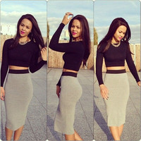 2015 Fashion Sexy Two-piece Cultivate one's Morality Skirt,Women's Dress.Clothes,Clothing(One Color,One Color) = 1958063236