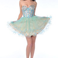 Turquoise & Yellow Sequin & Tulle Strapless Sweetheart Homecoming Dress - Unique Vintage - Cocktail, Pinup, Holiday & Prom Dresses.