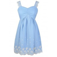 Lily Boutique Blue and Ivory Dress, Blue and White Dress, Blue Sundress, Cute Blue Juniors Dress, Blue and Ivory Embroidered Dress, Blue Embroidered Dress, Blue Dot Dress, Sky Blue Summer Dress, Pale Blue Dress, Blue Summer Dress, Blue and White Sundress L