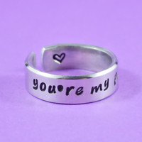 [♡044] you're my person - Hand Stamped Aluminum Cuff Ring, Grey's Anatomy Inspired, Love And Friendship Ring,  Best Friends Gift