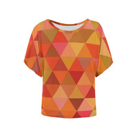 Autumn Colored Triangles Orange Women's Batwing-Sleeved Blouse T shirt (Model T43) | ID: D1762485