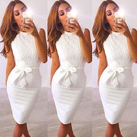 2019 Summer new Sexy Women crew neck sleeveless Lace floral Evening Party bodycon Dress elegant female white lace slim dresses