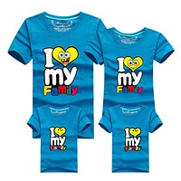 1Piece New Family Matching Outfits T-shirt Color Clothes For  2017 Summer family clothes mother father daughter son Top Clothing