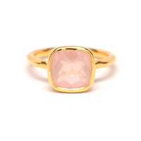 Rose Quartz Square Gold Ring