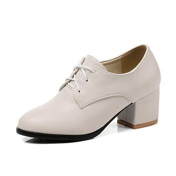 Ladies Leisure Round-heeled Lace Up Oxford Shoes