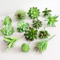 5pcs/pack Artificial Green Succulent Plant Wall Fake Miniascape/Bonsai/Potted Home Balcony Micro - Landscape Meaty Plant Random