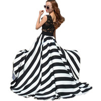 Vestidos 2017 Women Summer Hollow Out Lace Crochet Stripe Sleeveless O-neck Boho Beach Long Maxi Party Dresses Plus Size Robe