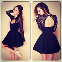 New Fashion Black Lace Patchwork Backless Cute Long Sleeve Evening Party Dress Ball Dress = 1667541188