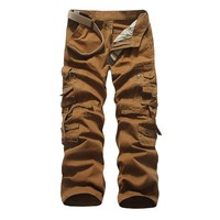 Free Shipping Mens joggers casual Pants military army cargo combat Loose work pants Outdoors Zipper Casual Dress size 28-40#