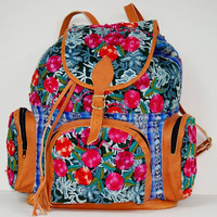 handmade embroidered backpack tote purse floral aztec by teresa265