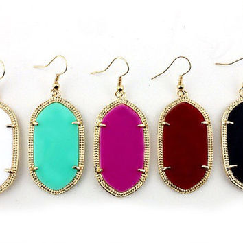 Kendra Inspired Bevelled Paved Drop Earrings, Most Popular fall 2015 Earrings