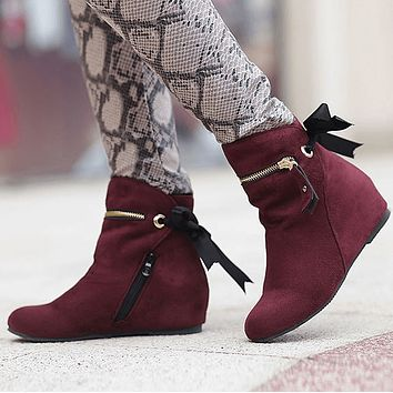 Suede Zipper Sorel Wedge Ankle Boots