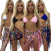 New color sequined crochet skirt female strappy sexy hollow beach fringed skirt