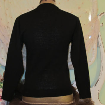 50s Beaded Sweater Black Vintage Cardigan Retro Clothing Small 1950's Hollywood Top Rockabilly Clothes Flower Beaded Tops Vintage Clothing S