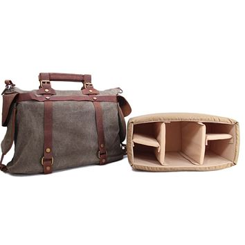 Waxed Canvas with Leather Trim Large DSLR Camera Satchel Bag