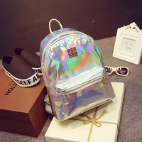 New Hologram Laser Backpack Girl School Bag Shoulder Women Rainbow Colorful Metallic Silver Laser Holographic Backpack