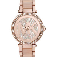 Michael Kors Women's Parker Blush Acetate and Rose Gold-Tone Stainless Steel Bracelet Watch 39mm MK6176 | macys.com