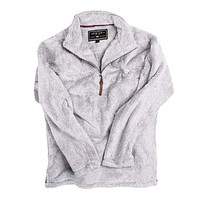 1/2 Zip Luxe Fleece Stripe Pullover in Grey and White by True Grit