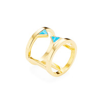 Katie Diamond Jewelry Women's Beatrix Turquoise Cage Ring - Bright Blue