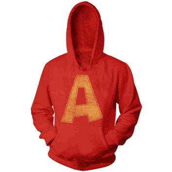 Alvin and the Chipmunks Alvin A Distressed Red Youth Hoodie Sweatshirt